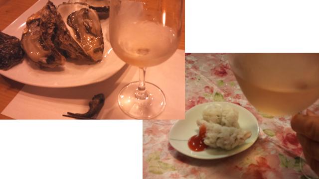 牡蠣と鱧とワイン